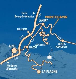 Plan d'accès à Montchavin